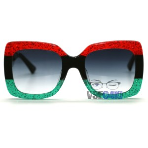 Gucci GG 0102S 001 black striped red green/grey shaded